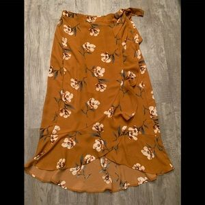 NWOT Xhilaration Mustard floral wrap around skirt